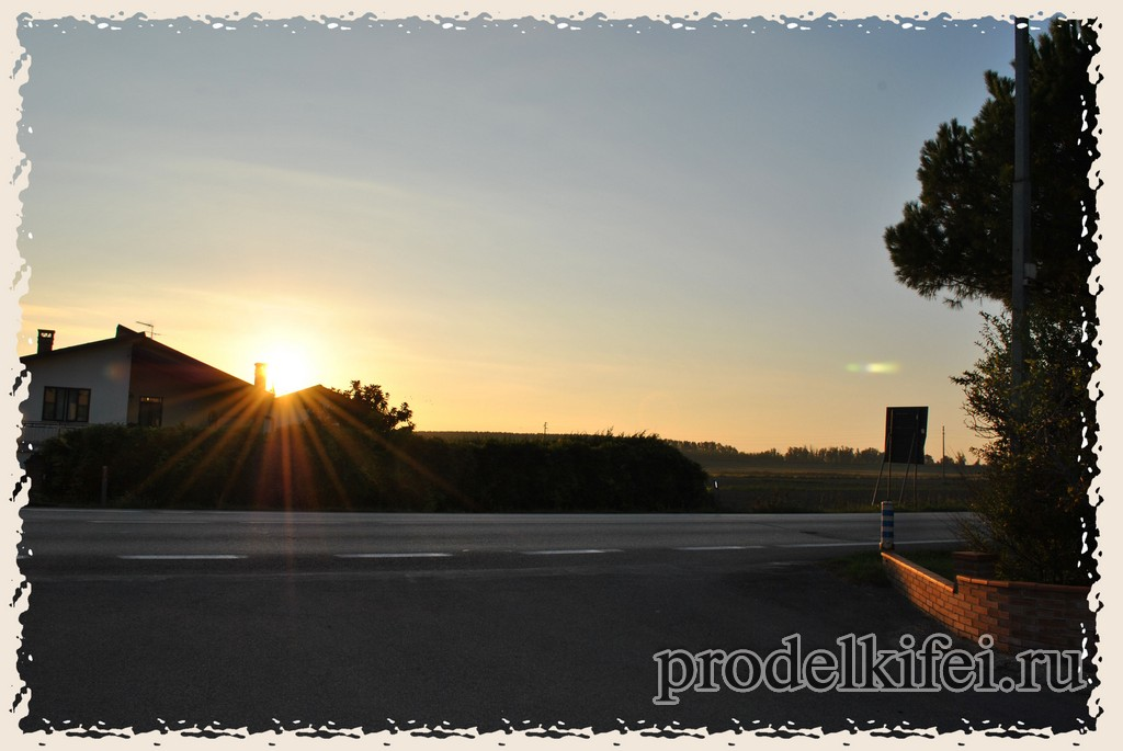 восход по дороге в Венецию