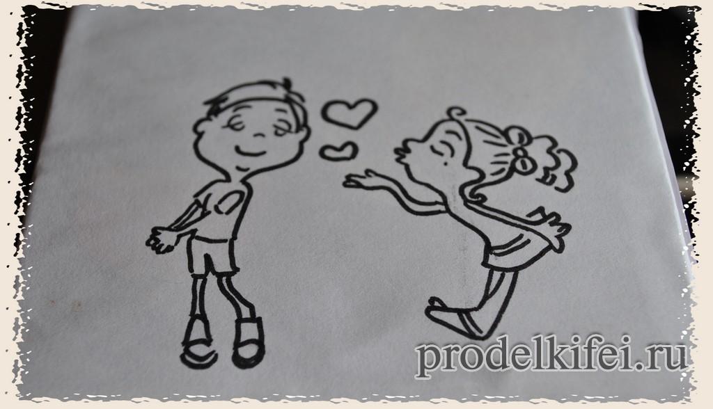 контур рисунка воздушный поцелуй