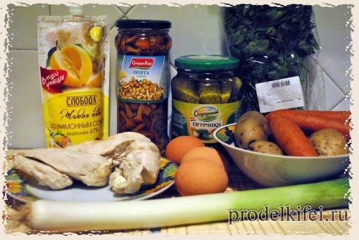 ингредиенты на салат Поляна в виде танка