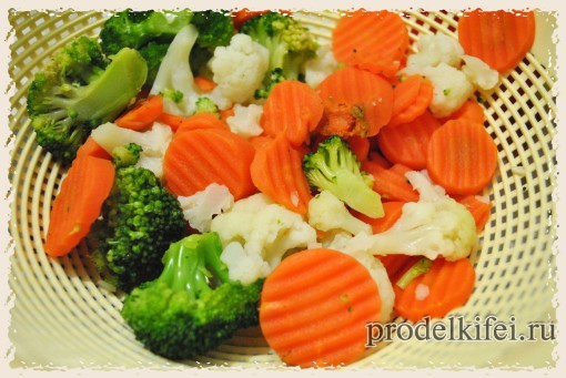 размораживаем овощи для фриттаты