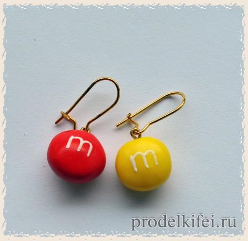 сережки из полимерной глины m and m's