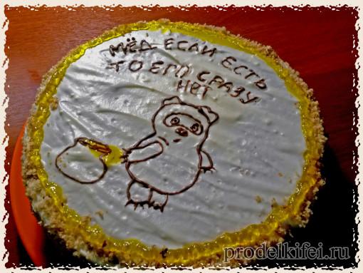 торт медовик с изображением Винни-Пуха