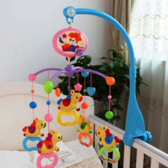 mobile for a newborn baby in a crib